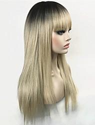 Недорогие -Парики из искусственных волос Жен. Прямой Блондинка Стрижка каскад Искусственные волосы 100% волосы канекалона Блондинка Парик Длинные Без шапочки-основы Блондинка StrongBeauty