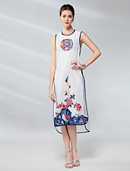 cheap -Proverb Women's Silk Sheath Dress - Solid Colored / Floral