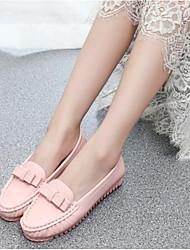 Недорогие -Жен. Обувь Полиуретан Лето Удобная обувь Мокасины и Свитер На плоской подошве Белый / Черный / Розовый