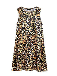 cheap -Women's Basic / Street chic A Line Dress - Leopard Print