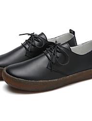 preiswerte -Damen Schuhe Leder Frühling Komfort Outdoor Flacher Absatz Schwarz / Beige / Khaki