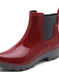 Недорогие -Жен. Обувь КожаПВХ Осень Резиновые сапоги Ботинки На низком каблуке Черный / Темно-синий / Вино