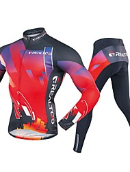 cheap -Realtoo Men's Long Sleeve Cycling Jersey with Tights - Black / Red Bike Clothing Suit, 3D Pad Polyester, Spandex