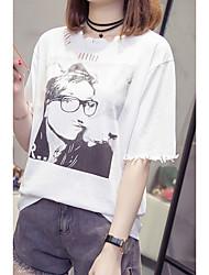 baratos -Mulheres Tamanhos Grandes Camiseta Sólido / Retrato Algodão