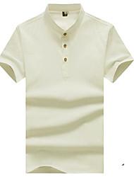 Недорогие -Муж. Рубашка Классический Уличный стиль Однотонный