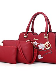 baratos -Mulheres Bolsas PU Conjuntos de saco 3 Pcs Purse Set Ziper Rosa / Cinzento / Verde Escuro