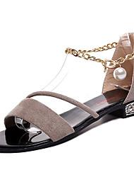 cheap -Women's Shoes Nubuck leather / PU Summer Comfort Sandals Block Heel Imitation Pearl Black / Army Green / Khaki