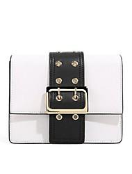 お買い得  -女性用 バッグ 本革 ショルダーバッグ ボタン のために お出かけ ホワイト / ブラック / ルビーレッド