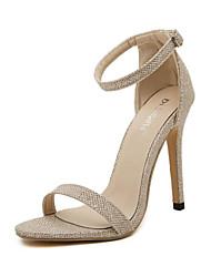 baratos -Mulheres Sapatos Micofibra Sintética PU / Gliter Primavera Verão Tira no Tornozelo / Plataforma Básica Sandálias Salto Agulha Dedo Aberto