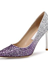 baratos -Mulheres Sapatos Couro Ecológico Primavera Verão Plataforma Básica Saltos Salto Agulha Dedo Apontado Lantejoulas Roxo / Vermelho / Azul