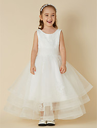 cheap -Princess Short / Mini Flower Girl Dress - Lace / Tulle Sleeveless Jewel Neck with Appliques by LAN TING BRIDE®