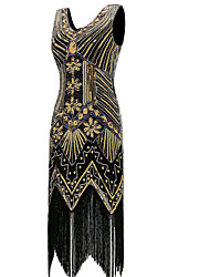 cheap -The Great Gatsby Vintage / The Great Gatsby Costume Women's Dress Golden Vintage Cosplay Polyester Sleeveless Halloween Costumes / Sequins