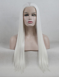 cheap -Synthetic Lace Front Wig Straight Middle Part Synthetic Hair Life / Soft / Middle Part White Wig Women's Long Lace Front