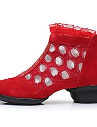 baratos -Mulheres Botas de Dança Pele Nobuck Têni Espetáculo Ensaio / Prática Salto Baixo Preto Vermelho