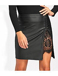 cheap -Women's Work Basic Faux Leather Mini Bodycon Skirts - Solid Colored Lace / Split / Summer / Skinny