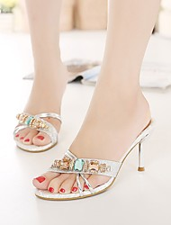 preiswerte -Damen Schuhe TPU / PU Sommer Pumps Sandalen Stöckelabsatz Peep Toe Strass Gold / Silber
