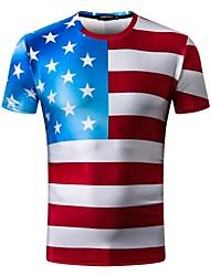 preiswerte -Herrn Einfarbig T-shirt Gitter / Druck