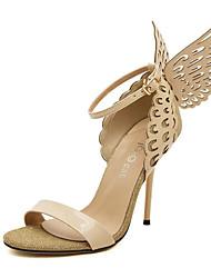 baratos -Mulheres Sapatos Couro Ecológico Primavera Verão Tira no Tornozelo / D'Orsay Sandálias Salto Agulha Dedo Aberto Laço / Rendado para