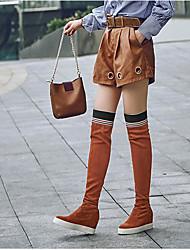preiswerte -Damen Schuhe Kaschmir Winter Komfort Stiefel Keilabsatz für Schwarz Braun