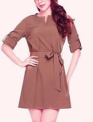 economico -Per donna Moda città Sleeve Lantern Camicia Vestito - Collage, Tinta unita Sopra il ginocchio
