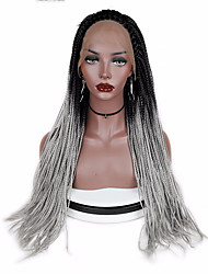 cheap -Synthetic Lace Front Wig Straight Middle Part Synthetic Hair Gift / New Arrival / Faux Locs Wig Black / Gray Wig Women's Long / Mid Length Lace Front / Yes