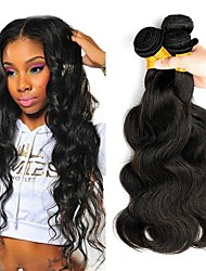 cheap -Malaysian Hair / Body Wave Wavy One Pack Solution 4 Bundles Human Hair Weaves Soft / Best Quality / Hot Sale Natural Black Human Hair Extensions Women's