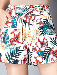 Недорогие -Жен. Активный Большие размеры Свободный силуэт Шорты Брюки - Цветочный принт Тропический лист, С принтом Завышенная Синий