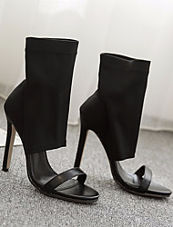 cheap -Women's Shoes Fleece Spring & Summer Basic Pump Heels Stiletto Heel Peep Toe for Casual / Party & Evening Black