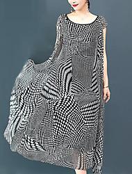 abordables -Femme Grandes Tailles Travail Sophistiqué / Chic de Rue Ample Balançoire Robe Pied-de-poule / Cachemire Maxi Noir & Blanc