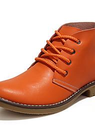 Недорогие -Жен. Обувь Кожа Наступила зима В ковбойском стиле / Модная обувь / Армейские ботинки Ботинки На толстом каблуке Ботинки Черный /