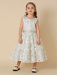 cheap -A-Line Knee Length Flower Girl Dress - Lace Sleeveless Jewel Neck with Bow(s) / Sash / Ribbon by LAN TING BRIDE®