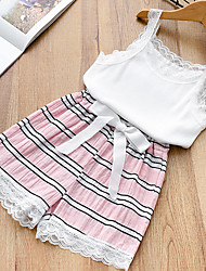 cheap -Kids / Toddler Girls' Basic Beach Striped / Color Block / Patchwork Lace / Ruched / Lace up Sleeveless Cotton Clothing Set