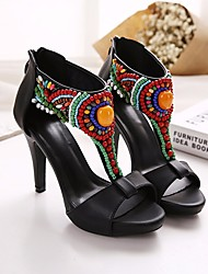 preiswerte -Damen Schuhe PU Sommer Pumps Sandalen Stöckelabsatz Peep Toe Imitationsperle für Büro & Karriere Party & Festivität Schwarz