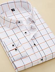 Недорогие -Муж. Офис Рубашка Деловые / Классический Полоски / Геометрический принт / С короткими рукавами / Длинный рукав