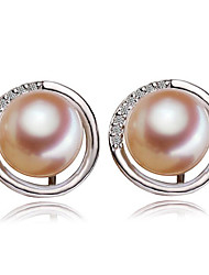cheap -Women's Stud Earrings - S925 Sterling Silver, Freshwater Pearl Simple, Fashion, Elegant White / Purple / Pink For Party / Gift