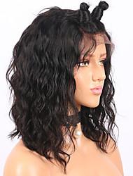 Недорогие -Remy Полностью ленточные Парик Бразильские волосы Волнистые Парик Короткий Боб 130% Природные волосы / С отбеленными узлами Жен. Короткие Парики из натуральных волос на кружевной основе
