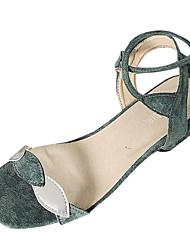 abordables -Femme Chaussures Polyuréthane Eté Confort Sandales Talon Bas Bout rond Ruban Noir / Vert / Amande