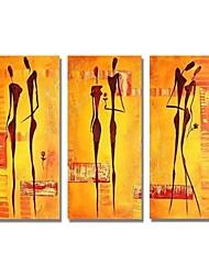 baratos -Pintura a Óleo Pintados à mão - Abstrato Pessoas Contemprâneo Modern Tela de pintura
