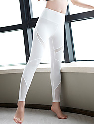 cheap -Women's Sexy Yoga Pants - White, Black Sports Solid Colored Spandex, Mesh High Rise Tights / Leggings Running, Fitness, Gym Activewear Quick Dry, Breathable, Soft High Elasticity