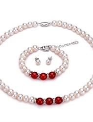 abordables -Mujer Perla / Perlas de agua dulce Conjunto de joyas - Perlas de agua dulce Clásico, Elegante Incluir Gargantillas / Pulseras del filamento / pendientes de la bola Rojo Para Fiesta / Diario