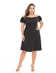 cheap -Women's Vintage / Basic Puff Sleeve Sheath / Little Black Dress - Solid Colored Backless