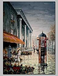 baratos -Pintura a Óleo Pintados à mão - Paisagem / Pessoas Clássico / Vintage Tela de pintura
