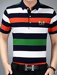 cheap -Men's Cotton / Polyester T-shirt - Striped / Color Block Round Neck / Short Sleeve