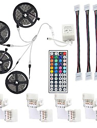 cheap -KWB 4x5M Light Sets / RGB Strip Lights / Remote Controls 600 LEDs 5050 SMD 1 44Keys Remote Controller / 1x 1 To 4 Cable Connector / 1Set Mounting Bracket RGB New Design / Cuttable / Decorative 12 V