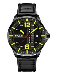 Недорогие -Муж. Спортивные часы Кварцевый Стеганная ПУ кожа Черный / Синий 30 m Защита от влаги Хронометр Аналоговый На каждый день Мода - Желтый Красный Синий