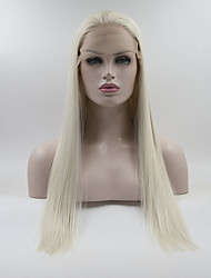 cheap -Synthetic Lace Front Wig Straight Layered Haircut Synthetic Hair Life / Medium Size White Wig Women's Long Lace Front