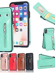Недорогие -Кейс для Назначение Apple iPhone X iPhone 6 Plus Бумажник для карт Кошелек со стендом Кейс на заднюю панель Однотонный Твердый Кожа PU для