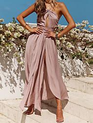baratos -Mulheres Básico / Boho Chifon Vestido - Frente Única, Sólido Longo / Assimétrico