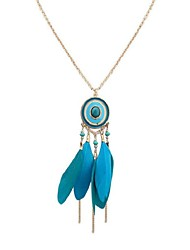 cheap -Cubic Zirconia Thick Chain Pendant Necklace / Chain Necklace - Resin Feather Vintage, Ethnic, Fashion Dark Blue, Rose Red, Light Blue 70 cm Necklace For School, Date