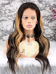 baratos -Cabelo Remy Peruca Cabelo Brasileiro Ondulado Corte em Camadas 130% Densidade Com Baby Hair / 100% Virgem Loiro Curto / Longo /